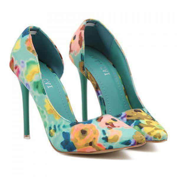 Mariage - Sweet Pointed Toe And Floral Print Design Women's Pumps