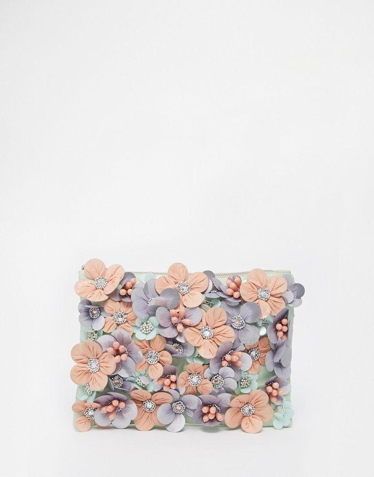 Boda - Flower Embellished Clutch Bag