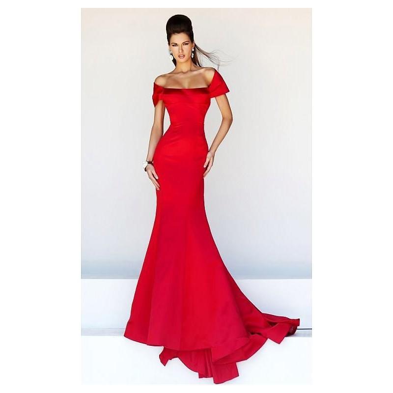 Wedding - Graceful Satin Mermaid Off-the-shoulder Neckline Evening Dress - overpinks.com
