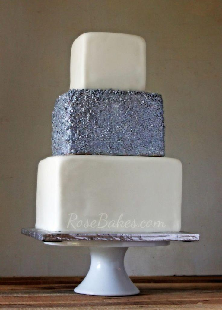 Boda - Silver Sequin Wedding Cake