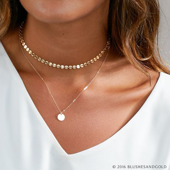 Wedding - Dainty Choker Necklace, Gold Choker, Choker Necklace, In Sterling Silver, Gold Filled, Perfect Layering Necklace