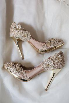 Wedding - Vintage Flower Lace Wedding Shoes With Champagne Gold Applique Crochet Bridal Satin Pumps Shoes