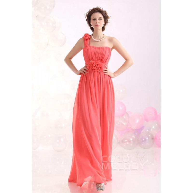 Wedding - Romantic Sheath-Column One Shoulder Floor Length Chiffon Bridesmaid Dress COZF13020 - Top Designer Wedding Online-Shop