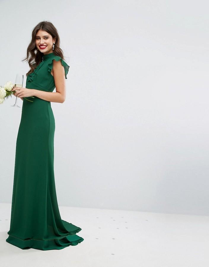Wedding - TFNC WEDDING Flutter Sleeve Fitted Maxi Dress in Chiffon