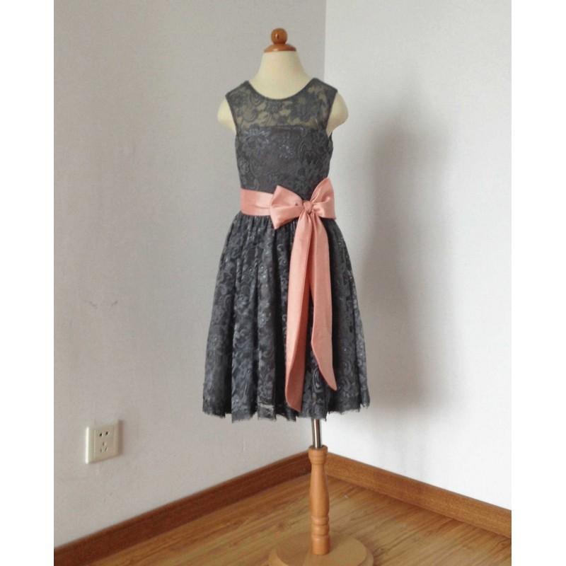 Hochzeit - Scoop Ankle-length Charcoal Grey Lace Flower Girl Dress with Light Watermelon Sash - Hand-made Beautiful Dresses