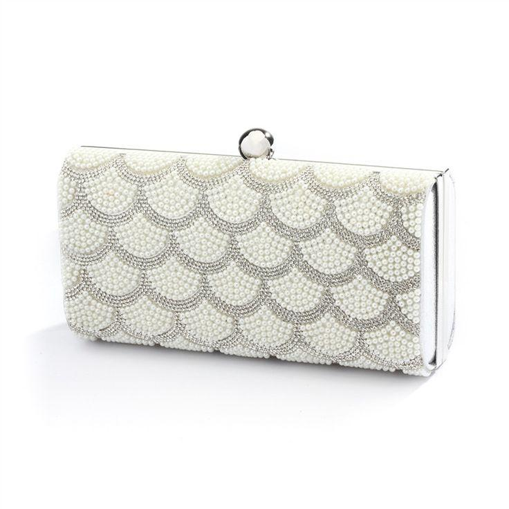 Boda - Scalloped Crystal And White Pearl Bridal Evening Bag