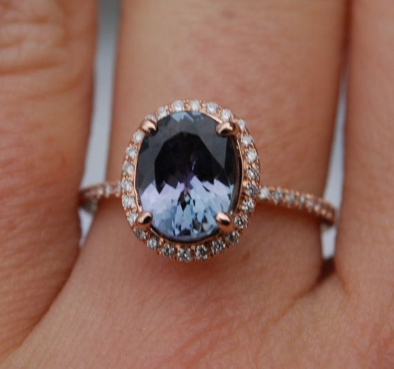 Wedding - Tanzanite Ring. Rose Gold Ring. 2.08ct Lavender Mint Tanzanite Oval Cut Engagement Ring 14k Rose Gold