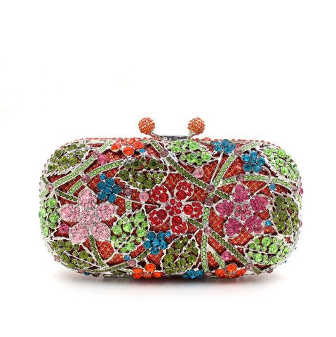 Boda - Flower Leave Rhinestone Minaudiere Metal Box Clutches For Wedding Gift