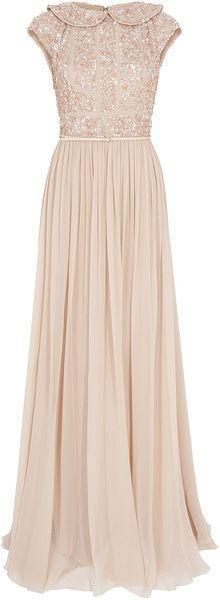 Wedding - Women's Pink Cap Slb Beaded Top Silk Gown