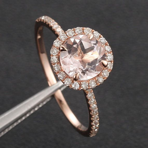 Wedding - 7mm Morganite .27ct Pave Diamond Solid 14K Rose Gold Engagement Ring