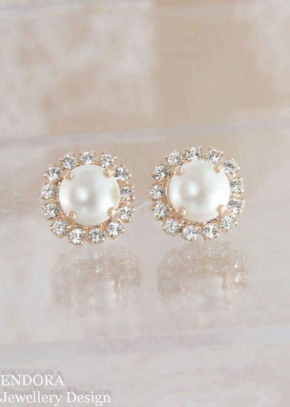 Rose Gold Earrings Pearl Wedding Jewelry Bridal Swarovski Cream