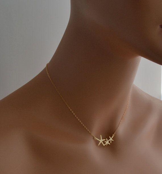 Boda - Collar De Oro, Collar De Estrella De Mar, Delicada, Joyería Cotidiana, Simple Collar, Joyería De La Mínima