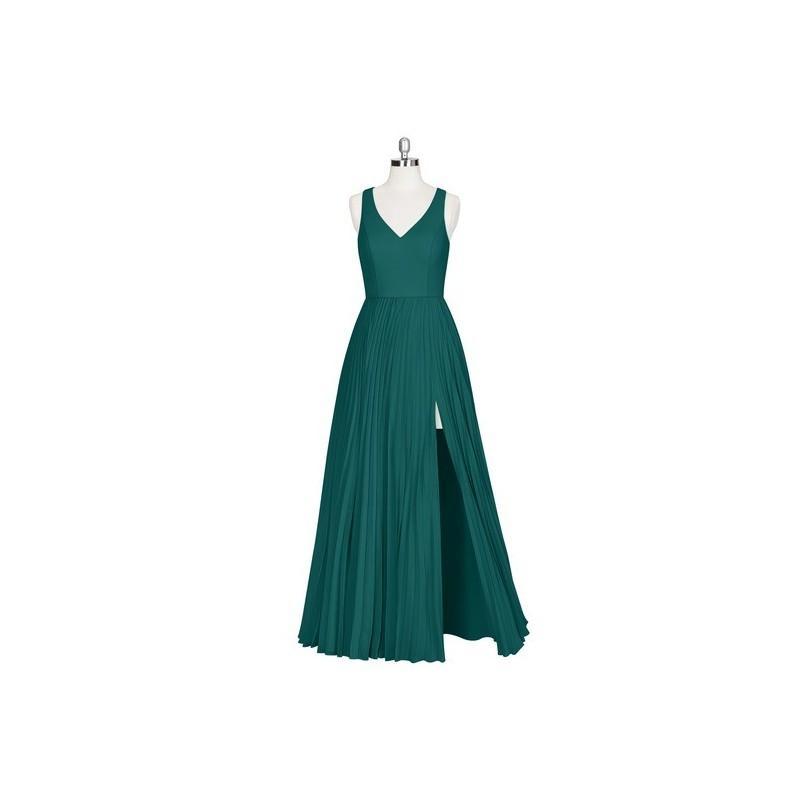 Свадьба - Peacock Azazie Lindsey - Floor Length Chiffon V Neck Back Zip - Charming Bridesmaids Store