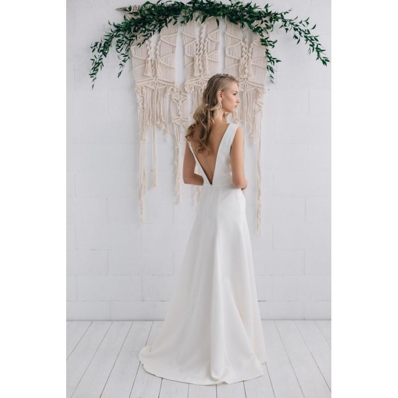 Boda - Simple Wedding Dress Ivory Satin Dress Bridal Gown,Open Back Wedding Dress Classic Gown Dress Long Ivory Dress- Stella - Hand-made Beautiful Dresses
