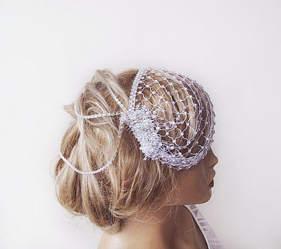 Boda - Bridal Birdcage, Mini Wedding Veil, Rhinestone Head Piece, Wedding Headband, Fascinator , Wedding Veil, Wedding Accessories
