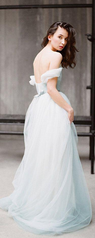 "Wedding - Tulle Wedding Dress With Off Shoulder Sleeves ""Arsenia"", Classic Bridal Gown, Blue Grey Wedding Dress, Low Back Wedding Dress, Milamira"