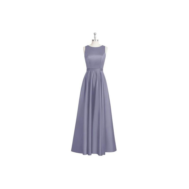 Boda - Stormy Azazie Jakayla - Boatneck Floor Length Keyhole Satin Dress - Charming Bridesmaids Store