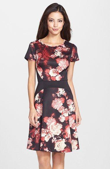 Wedding - Print Scuba Fit & Flare Dress