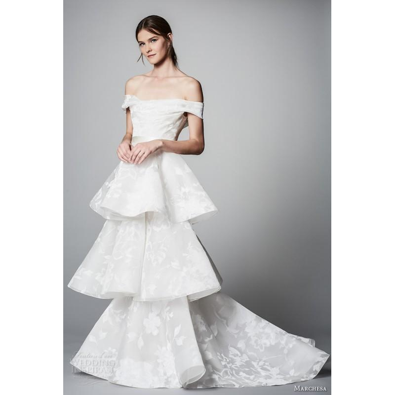 Boda - Marchesa Spring/Summer 2018 Open Back Chapel Train Ivory Short Sleeves Off-the-shoulder Organza Wedding Dress - Charming Wedding Party Dresses