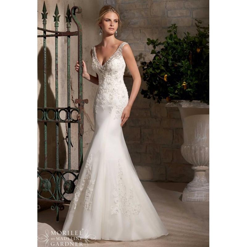 Boda - Mori Lee 2710 Sheer Back Fit and Flare Wedding Dress - Crazy Sale Bridal Dresses