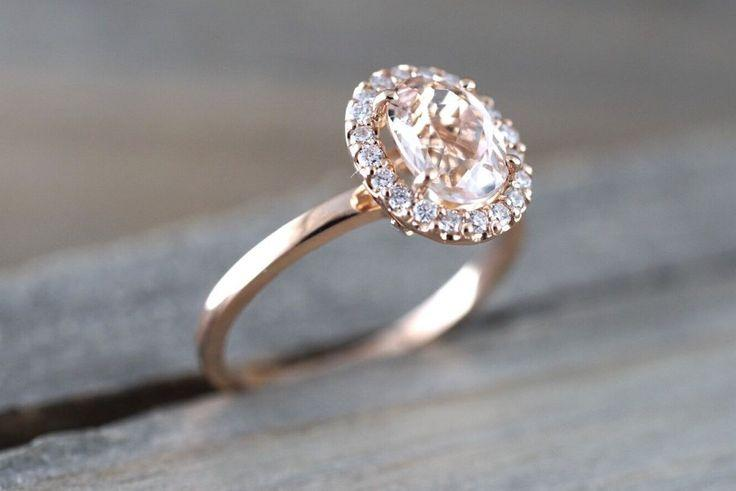 Wedding - 14k Rose Gold Oval Morganite Diamond Halo Engagement Ring Vintage Crown Dainty