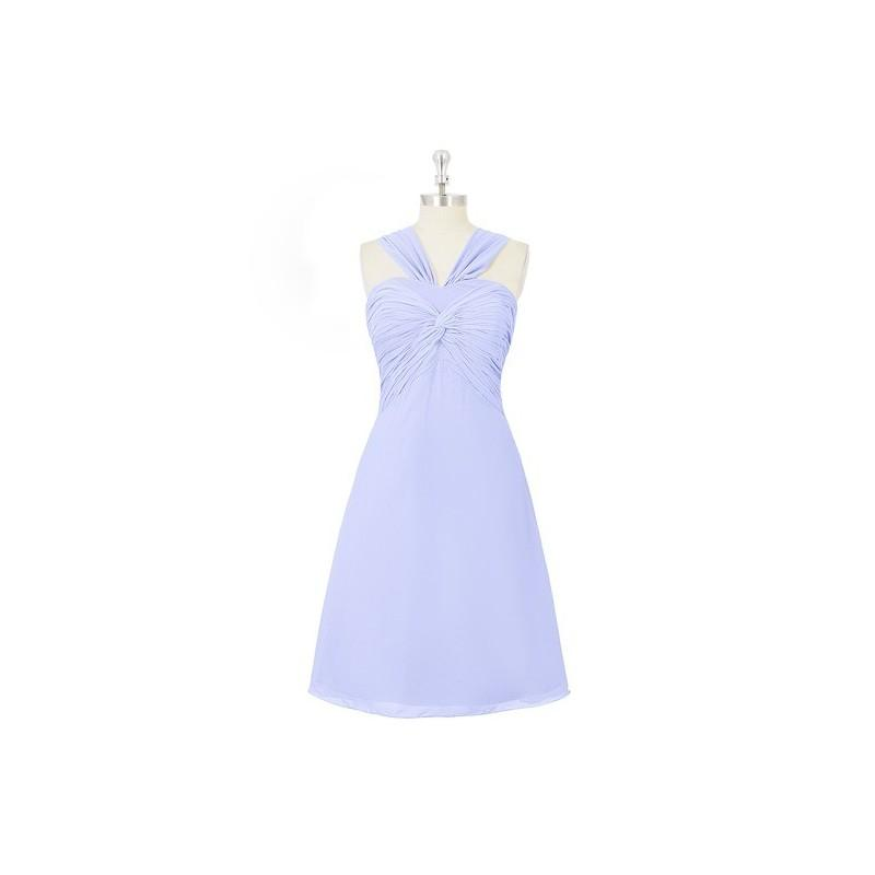 Wedding - Lavender Azazie Mariana - Knee Length V Neck Bow/Tie Back Chiffon Dress - Charming Bridesmaids Store