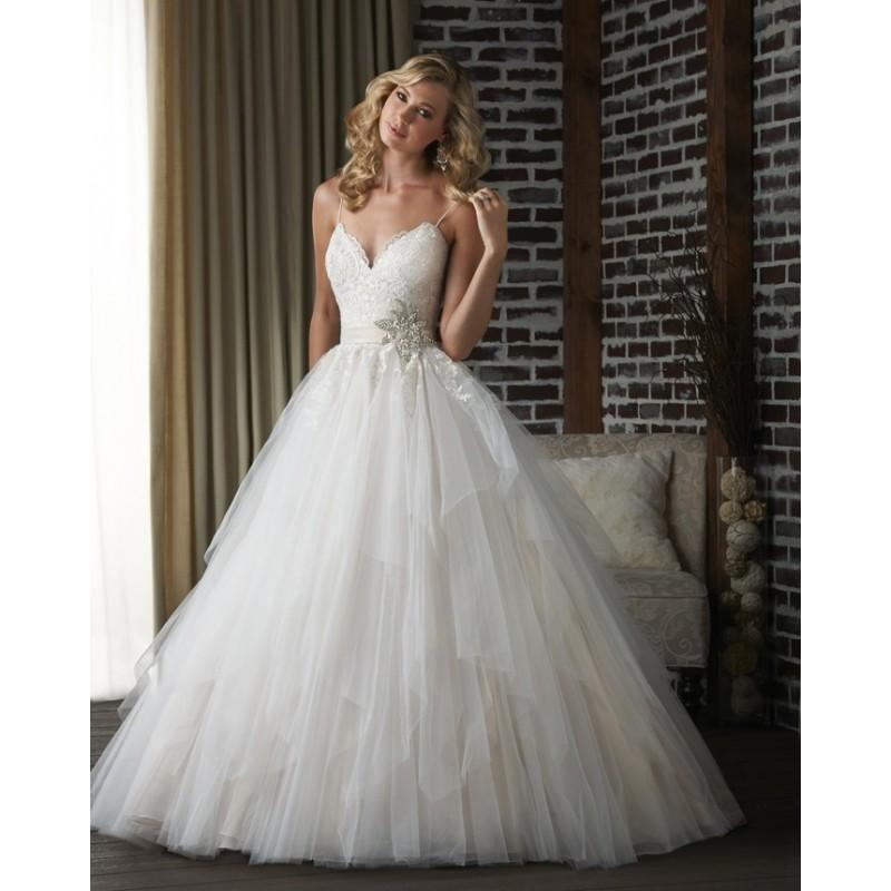 Wedding - Bonny Classic 308 Spagetti Strap Lace Ball Gown Wedding Dress - Crazy Sale Bridal Dresses