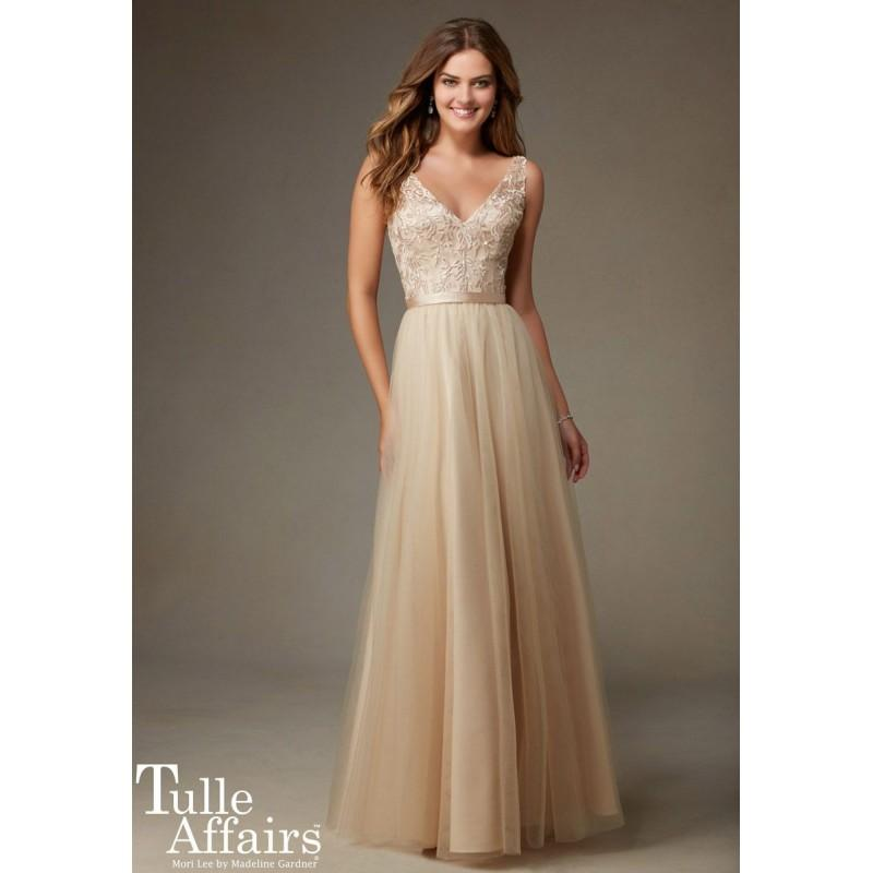 Wedding - Mori Lee Tulle Affairs 134 Long V-Neck Bridesmaid Dress - Brand Prom Dresses