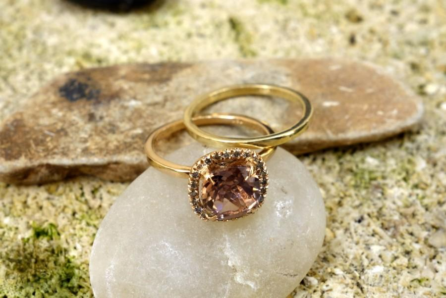 Wedding - UNIQUE VINTAGE Style Morganite Engagement Ring in Gold Diamond Wedding Band fine jewelry Halo diamond ring Gemstone Unusual engagement ring