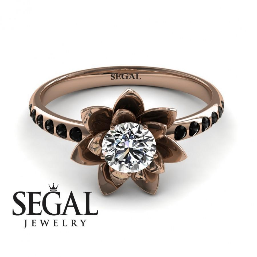 Wedding - 14k Rose Gold Engagement Ring Solitaire engagement ring Rose Gold Diamond Ring Lotus Flower Ring Rose gold Engagement Ring - Lotus