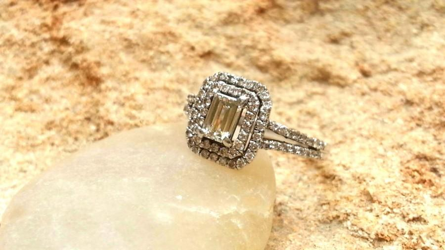 Wedding - Double halo Morganite Diamond Engagement Ring Wedding Ring Diamond Ring bridal engagement ring Double Shank setting Women's ring Braided