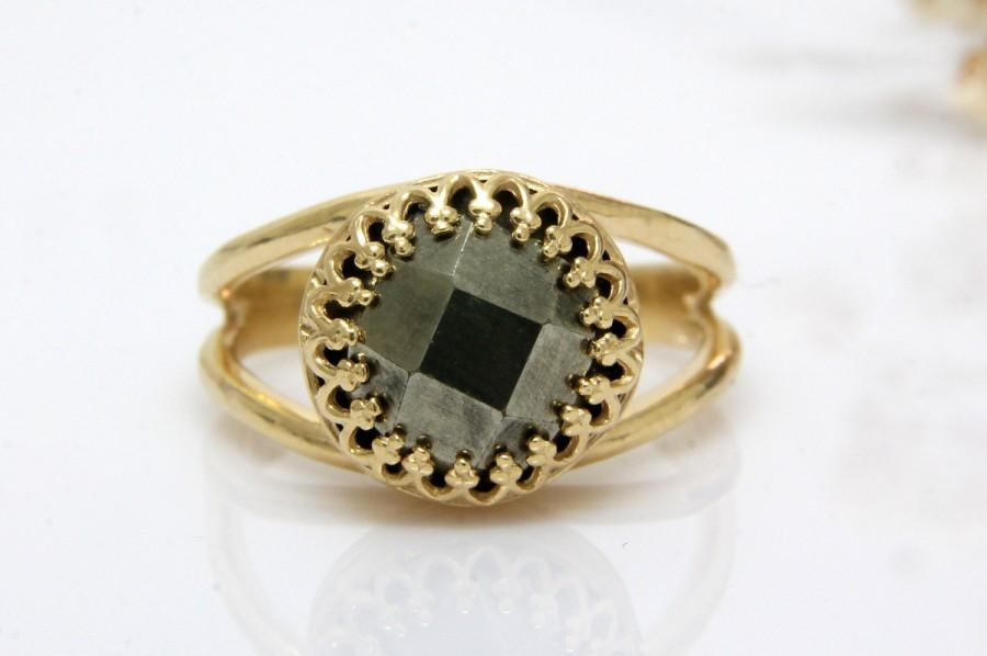 Wedding - Pyrite ring,delicate ring,gemstone ring,faceted pyrite jewelry,bridesmaid rings,gold ring