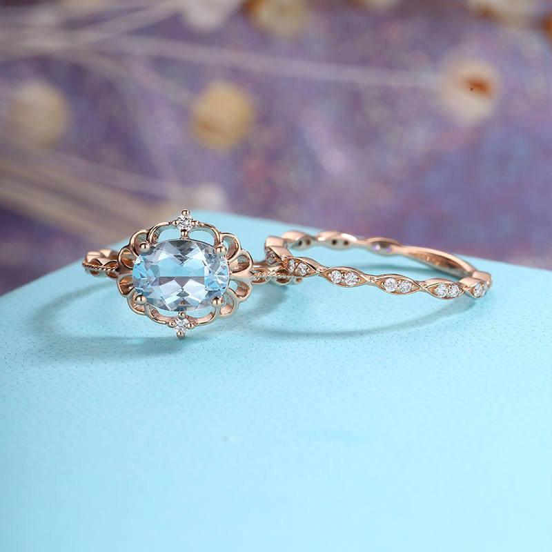 Wedding - Aquamarine Engagement Ring set art deco Vintage engagement ring Rose Gold oval Wedding Women antique birthstone Bridal stacking anniversary