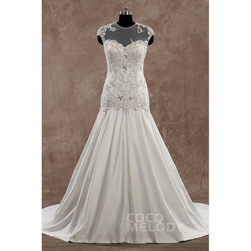 Wedding - Hot Sale Illusion Dropped Train Satin Ivory Sleeveless Wedding Dress with Beading and Embroidery - Top Designer Wedding Online-Shop