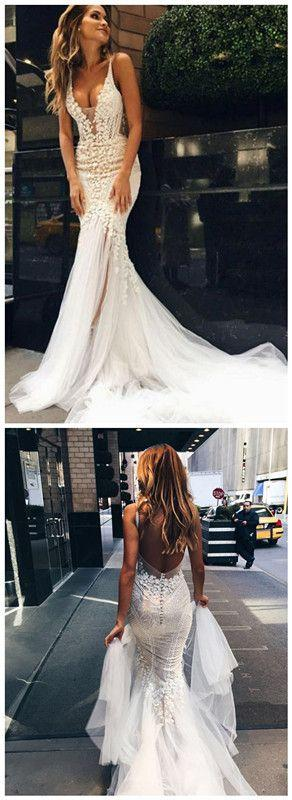 Свадьба - Luxurious Mermaid Long V-neck Wedding Dress With Open Back Bridal Dresses Brodal Gowns From BallaDresses