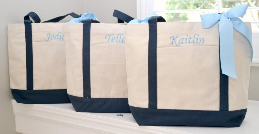Mariage - Bridesmaid Totes Personalized in Navy or Black