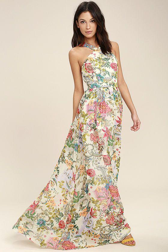 Mariage - Lilja Cream Floral Print Maxi Dress