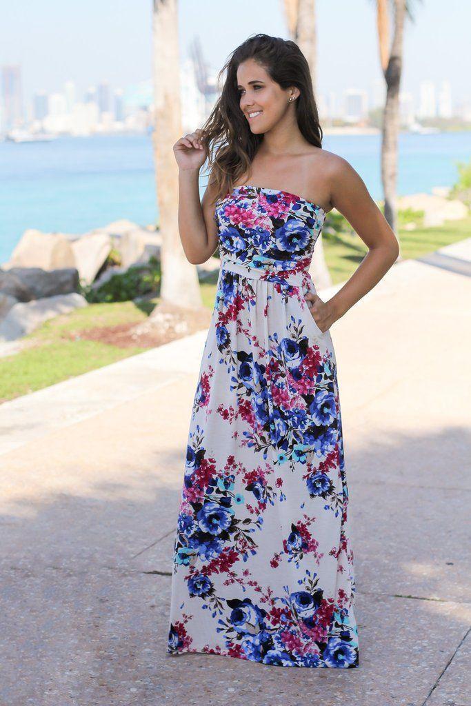 زفاف - Cream Strapless Floral Maxi Dress With Pockets