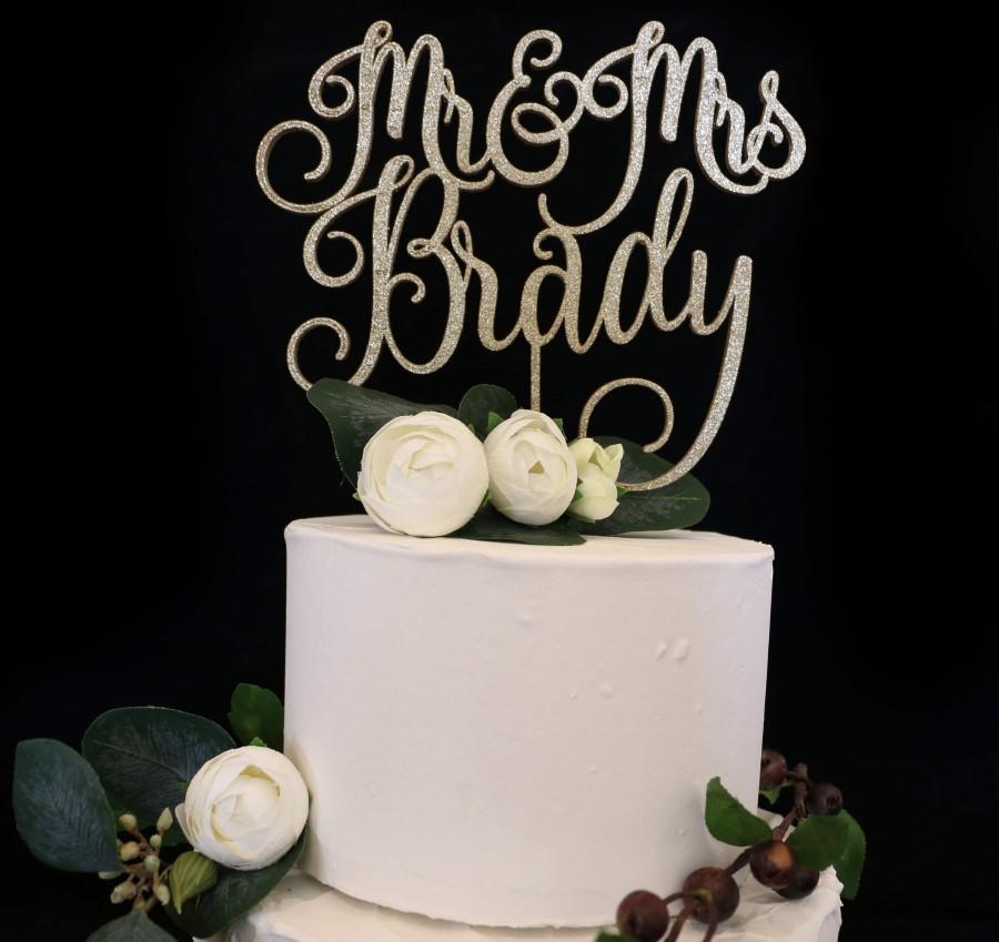 Mariage - Custom Script Mr and Mrs  Wedding Cake Topper