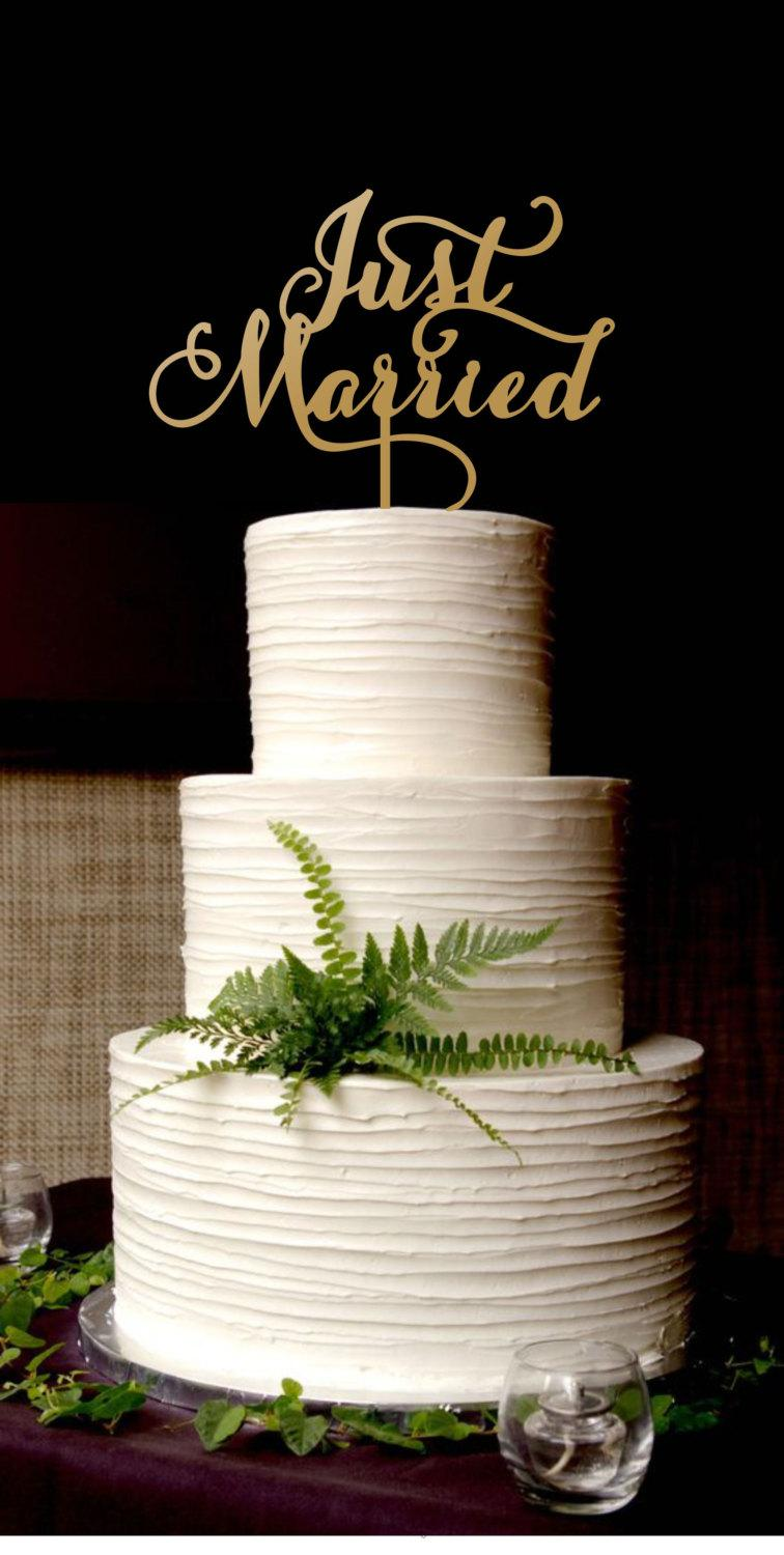 Hochzeit - Cake Just Married.Gold Cake Topper.Wedding Gold Cake Topper.