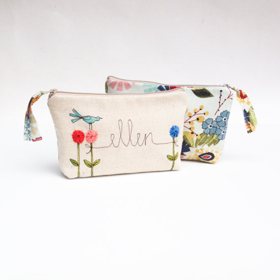 Wedding - Will You Be My Bridesmaid, Bridesmaid Proposal Gift, Personalized Cosmetic Bag, Ask Bridesmaids, Custom Name, Custom Bridesmaid Gift, Floral