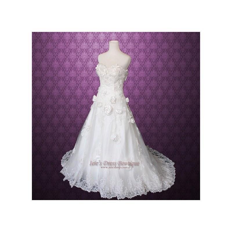Wedding - Size 4 Strapless Rosette Sweetheart A-line Wedding Dress - Hand-made Beautiful Dresses