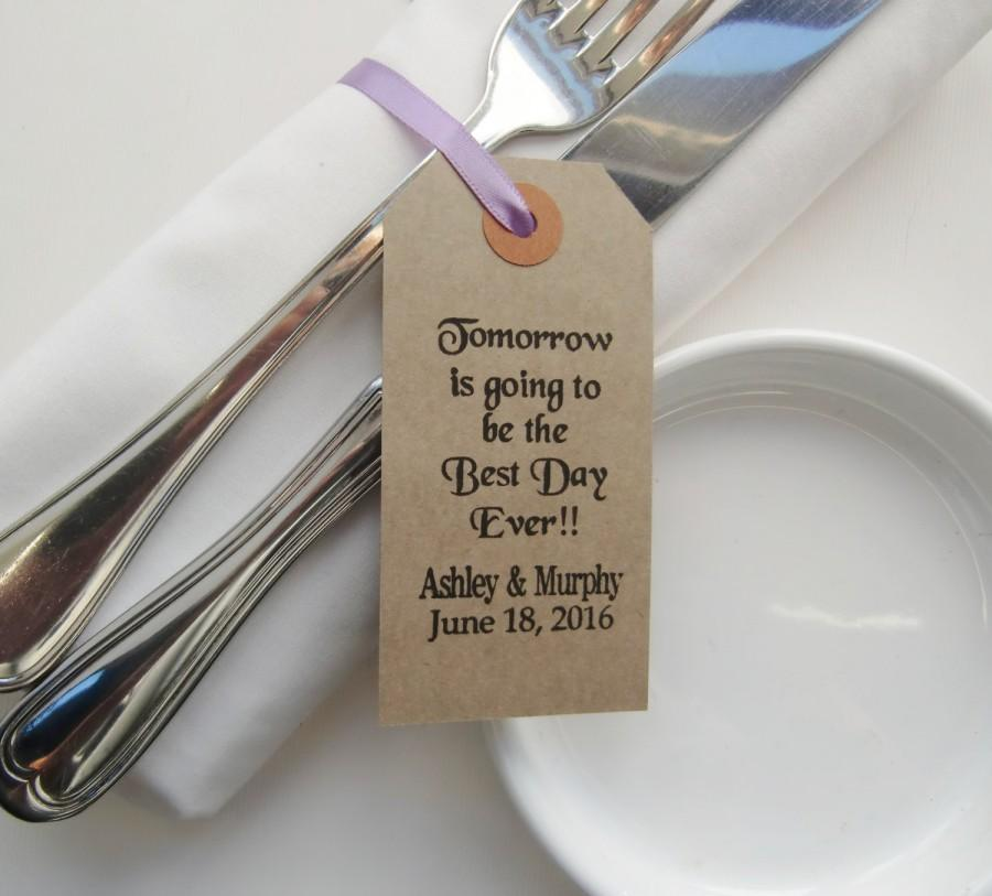 Hochzeit - Tomorrow Is Going to Be-Rehearsal Dinner Table Decor-Rehearsal Dinner Ideas-Rehearsal Dinner Favors-Vintage Type Tags with Ribbon--Weddings