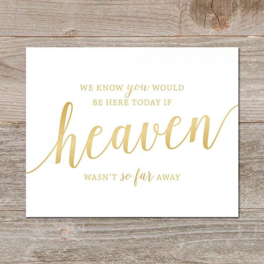 Hochzeit - Heaven Wedding Sign Gold // In Loving Memory Wedding Sign // Gold Wedding Remembrance Sign // Printable Memory Sign
