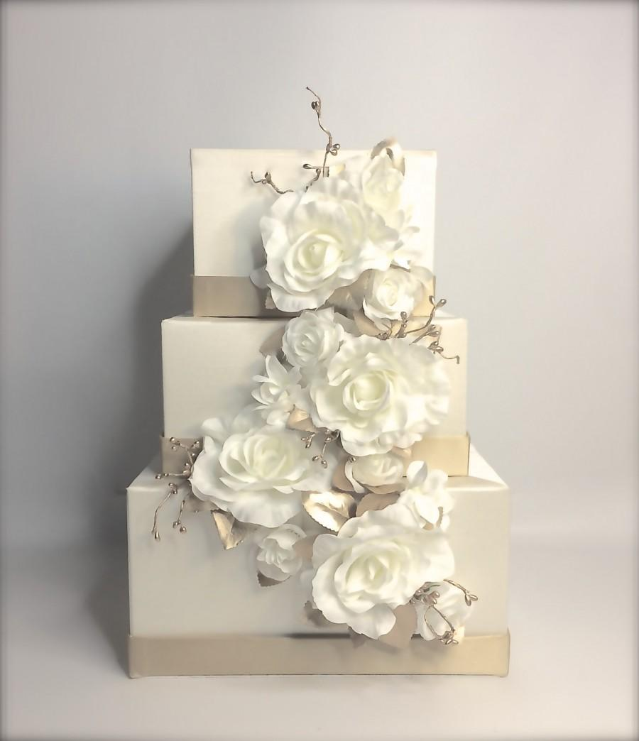 Mariage - Wedding Card Box Cascade Gold and Ivory Or White Wedding Card Holder Unique Elegant Wedding Card Box Custom Box Handmade Gift Card Box