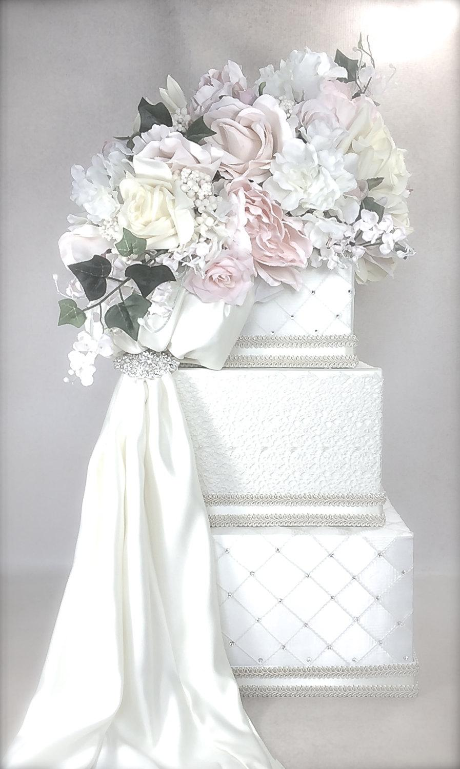 Wedding - Lace and Soft Pastel Wedding Card Holder, Wedding Card Box,  Secured Lock Wedding Card Box,  Wedding Card Box