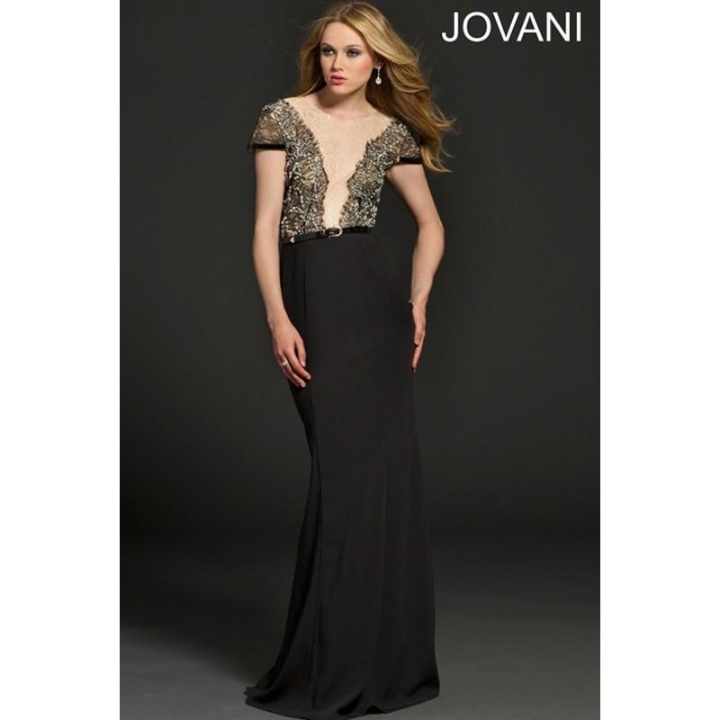 Свадьба - Jovani 91091 Lace Bodice Cap Sleeves Belted Waist Fit And Flare - Scoop Social and Evenings Fit and Flare Jovani Long Dress - 2017 New Wedding Dresses