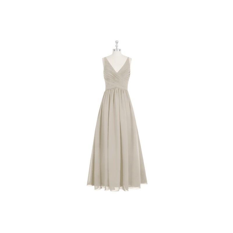 زفاف - Taupe Azazie Elaine - Chiffon V Neck Back Zip Floor Length Dress - Cheap Gorgeous Bridesmaids Store
