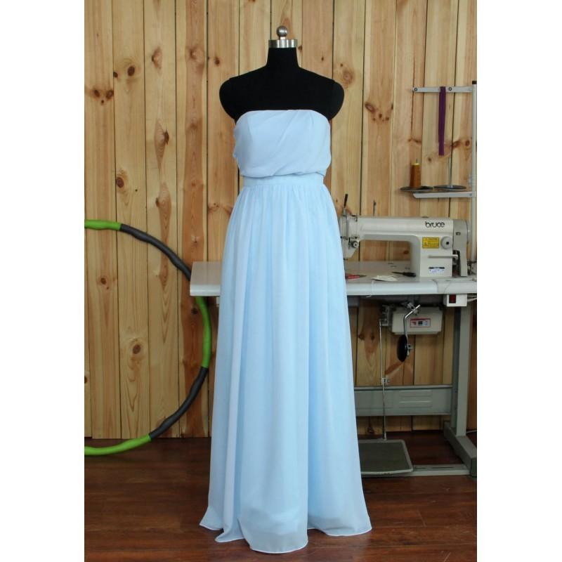 زفاف - 2016 Chiffon Bridesmaid Dress, Light Blue Chiffon Evening Dress, Strapless Prom Dress, Wedding Party Dress Floor Length - Hand-made Beautiful Dresses