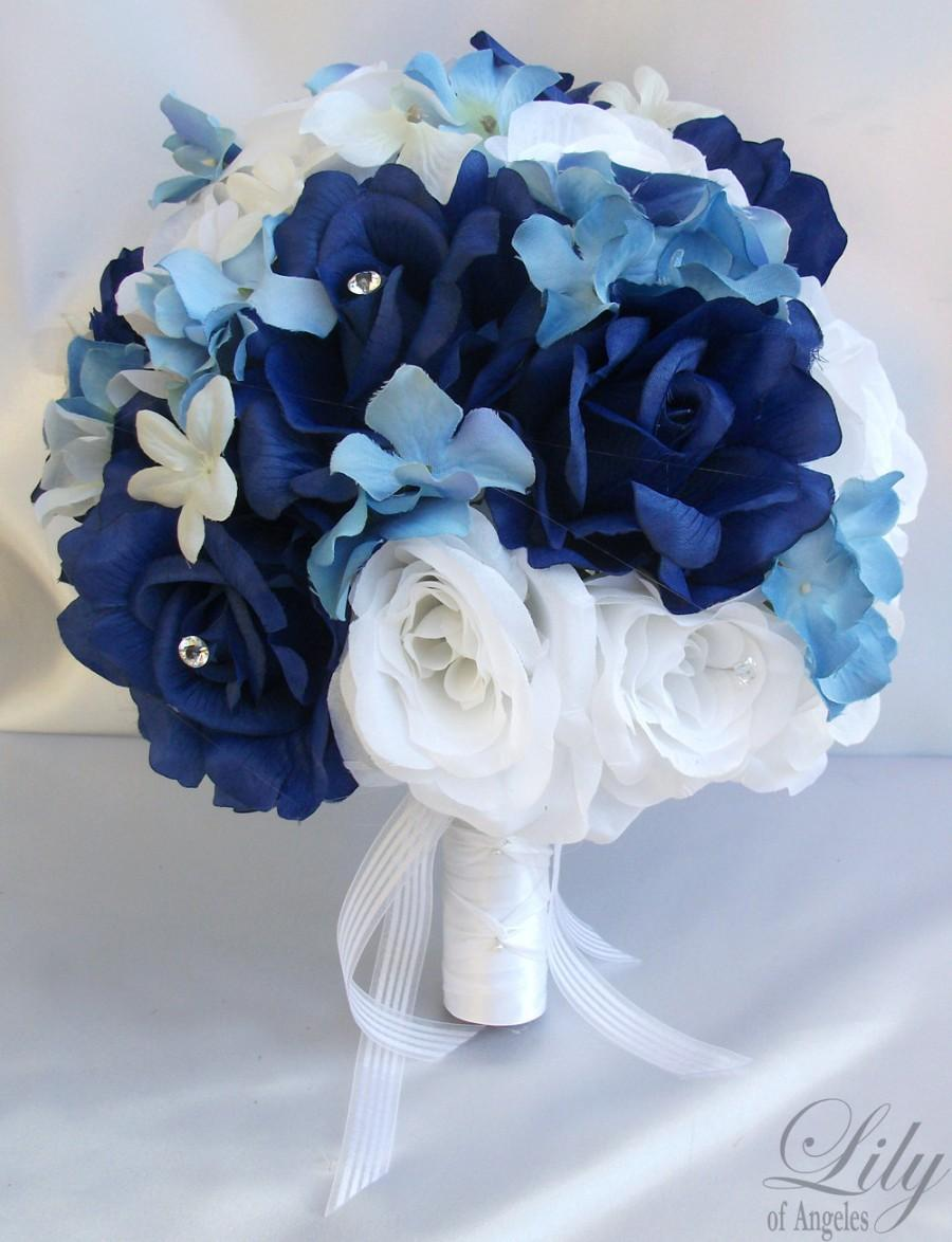 """Mariage - 17 Piece Package Wedding Bridal Bride Maid Honor Bridesmaid Bouquet Boutonniere Corsage Silk Flower DARK BLUE WHITE """"Lily Of Angeles"""" WTBL02"""